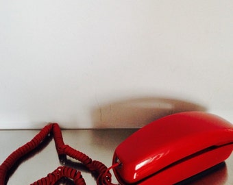 Vintage 1965 Western Electric Trimline Table Phone / Deep Red Trimline 60's Table Phone / 1965 Home Decor / Vintage Home Decor