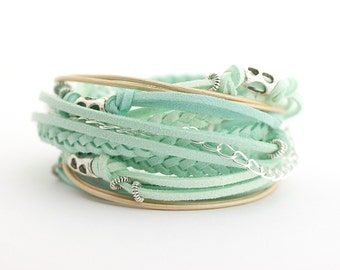 Mint Ice Blue Boho Wrap Bracelet, Pastel Colors Bracelet, Hippie Gypsy Bracelet, Bohemian Jewelry, Mothers day gift, gift for wife
