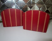 Vintage Leather Gold Embossed Bookends Retro Bookends Shelf Display Red Gold Black Leather