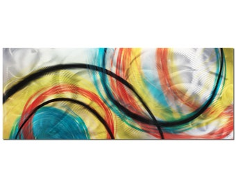 Rainbow Art - 'Rainbow Seasons' - 48x19in. - Contemporary Wall Art - Big Colorful Modern Art - Yellow, Red, Orange
