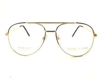 Mens Aviator Eyeglasses, Vintage Matte Gold Metal and Brown Glasses Frame, Never Worn