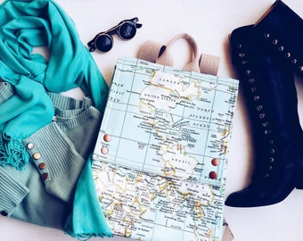 World Map Prints Backpack ,Mint Rucksack