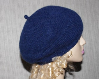 Navy Hand Knit  Soft Warm  Beret Hat from Italian Pure Cashmere