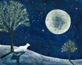8x10 Art Print-Winter Scene with Trees, Lights, Snow Fox-Winter Art-Solstice Art-Christmas Art