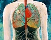 Breathing-18x24x.5 Mixed Media on Canvas-Anatomy-Trees-Lungs-Body-Heart