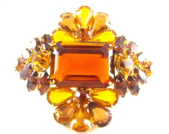 Rhinestone Brooch Spectacular Amber Glow Flowers Deep Topaz Emerald Cuts Pears Navettes Chatons Gorgeous