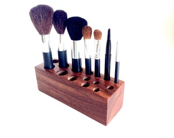 Wooden Makeup Brush & Cosmetic Storage Holder