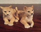 Vintage Castagna Italy Lion Cubs Figurine African Collection