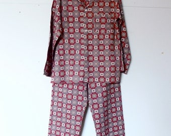 Retro Cotton Sleepwear Printed Pyjamas Holeproof Pajamas