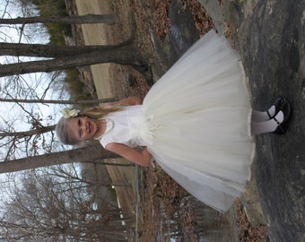 Silk tulle flower girl dress, Satin tulle flower girl dress, flower girl dress, wedding flower girl dress