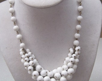 Vintage Jewelry Necklace White Cluster Beads ChaCha Necklace 1950's Mid-Century 1960's
