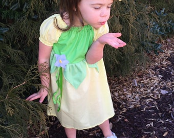 Princess Tiana Dress//Hairpiece INCLUDED//Lots of Sizes//Princess and the Frog