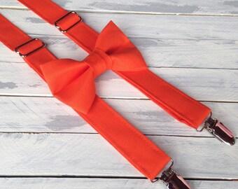 Boys Tangerine Orange Suspenders and Bow Tie Set - Babies Toddlers Children Boys Orange Tie - Fall Wedding - Ring Bearer  - Photo Prop