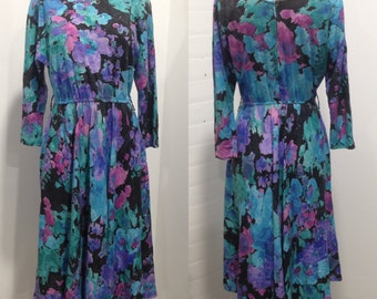 1980s Floral Long Sleeve Secretary Dress