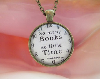 Glass Cabochon Books Necklace