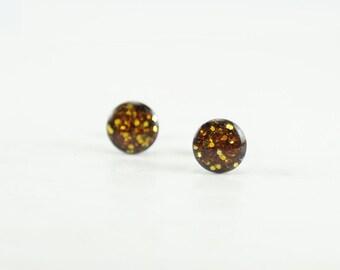 YELLOW GLITTER Stud Earrings  - Yellow Glitter Earrings - Sparkle Earrings - Glitter Earring Studs - Glitter Jewelry - 4mm / 6mm / 8mm