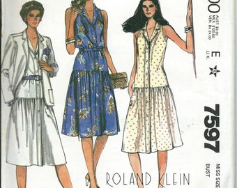 Roland Klein McCall's 7597 Misses Dropped Waist Dress and Jacket Pattern, Sizes 8, 10 & 12 UNCUT
