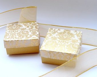 Wedding favor box,Packaging box,Chocolate box 10 Gold Damask Print on Ivory 3 x 3 x1.5 inch, packaging supply