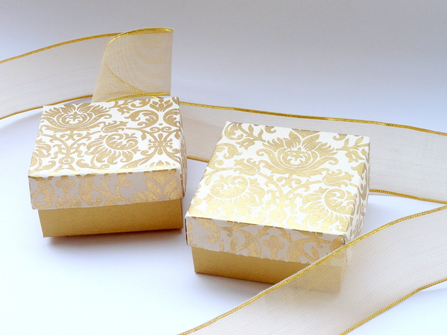Damask Wedding Favor Boxes : Wedding favor boxpackaging boxchocolate box gold damask