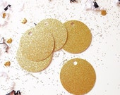 12 Gold Glitter Round Tags