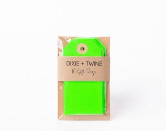 Neon Green Parcel Tags / Set of 10/ Gift Tags/ Parcel Tags/ Green Tags/ Green Gift Tags/ Green Parcel Tags/ Neon Tags