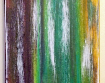 Abstract 22- 8x10 Acrylic on Canvas - Linear Abstract Painting, Bright Colors