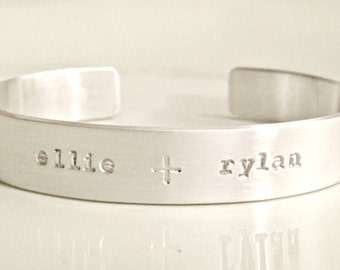 Personalized Sterling Silver Cuff Bracelet with Secret Message - Custom Hand Stamped Jewelry - Anniversary, Special Occasion, Mommy, Friend