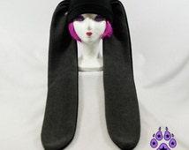 Pawstar Basic LONG EAR BUNNY Hat You Pick Color Fleece Rabbit Ears Scarf Otaku Kawaii Lolita Goth Gothic Black Red Pink Blue Purple 1500