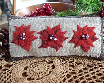 Holiday Poinsettia Christmas Shelf Pillow Tuck