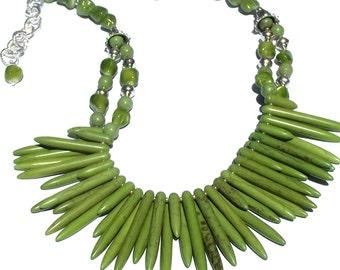 Sage Green Necklace  Bib Necklace  Green Howlite Necklace  Multi-strand Necklace Double Strand Necklace Evergreen Necklace