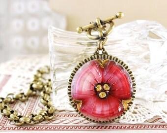 Art Glass Necklace, Pink Glass Necklace, Deep Pink Pansy, Flower Czech Glass, XL Pendant, Toggle Necklace, Button Jewelry by veryDonna