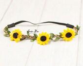 Sunflower Baby headband...Boho Headband. Halo Headband..Flower Crown..Rustic Burlap Wedding Headband..Baby Headband