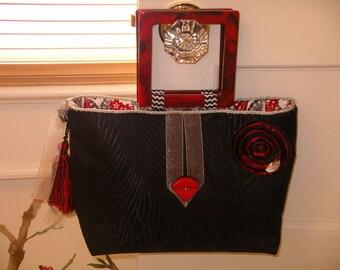 Black and Red Asian Fans Handbag