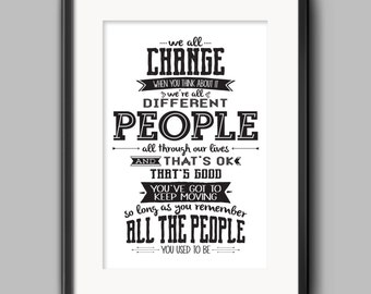 Doctor Who - We All Change Typography Quote Poster