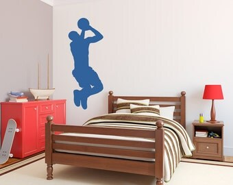 Basketball Player Silhouette - Sport Wall Decal Sticker, Wall Art For Men, Basketball Decal, Basketball Player Art, Basketball Jump Shot