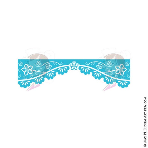 Turquoise Mexican Banner Clipart Teal Papel Picado Clipart ...