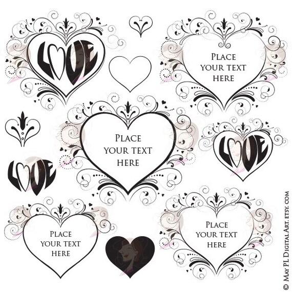 Love Heart Frame Valentines Day Flourish Wedding Clip Art
