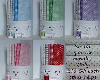 Patchwork quilting fabric 6 FQ bundles (1.5 metres) / dots, spots, gingham, stripes / blue, green, lilac, pink and red