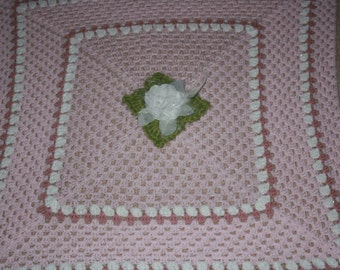 Beautiful Pink And White Crochet Cot Blanket Afghan For Baby Measures 90cm Square