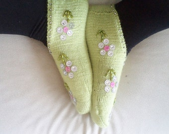 Handmade Women Slippers,  Socks, Slippers, Shoes, Teens Gifts, Turkish Knitted slippers, footwear, Stylish, Traditional Socks