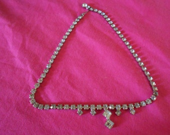 Beautiful Rhinestone Necklace 5 Teardrops