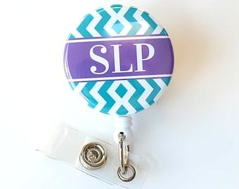 SLP Badge Reel - Speech Therapist Badge Pulls - Cute ID Holder - Speech Pathologist - Chevron Badge Clips - SLP Gifts - BadgeBlooms