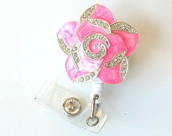Hot Pink Petal Bling - Flower Badges - Unique Badge Reel - Stylish ID Badge Clip - Nurse Jewelry - Teacher Gift - RN Badge - BadgeBlooms