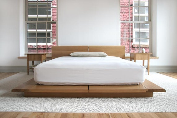 Queen rift bed with headboard mid century modern by semigood - Tablette de lit ikea ...