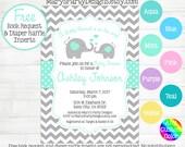 Elephant Baby Shower Invitation - Aqua Blue Mint Teal Boy Girl Chevron Gray Diaper Raffle Ticket Book Request Card Digital