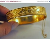 ON SALE Antique Victorian Winard Bracelet gold filled and taille d'epargne - Beautiful Floral Design