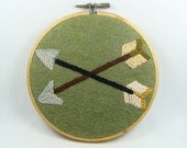 Hand Embroidered Arrows - Archery, Bow, 5 inch Stained Wood Hoop, Custom work available