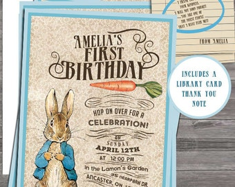 Vintage Peter Rabbit Beatrix Potter Birthday Party or  Vintage Nursery Book invite diy print file OR  Printed is available