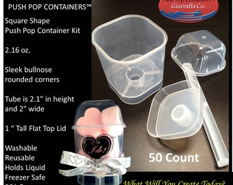 Push Pop Containers Square Mini Me 50 count with Lids