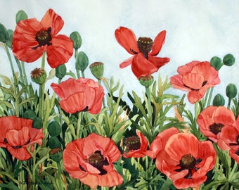 Red Poppy Field Painted with a light Blue Background